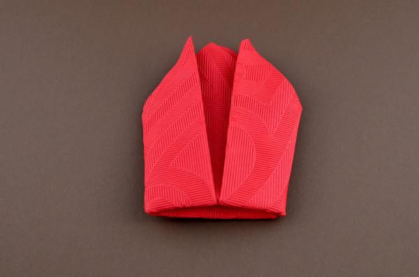 Servietten falten Anleitung Schleppe Rot