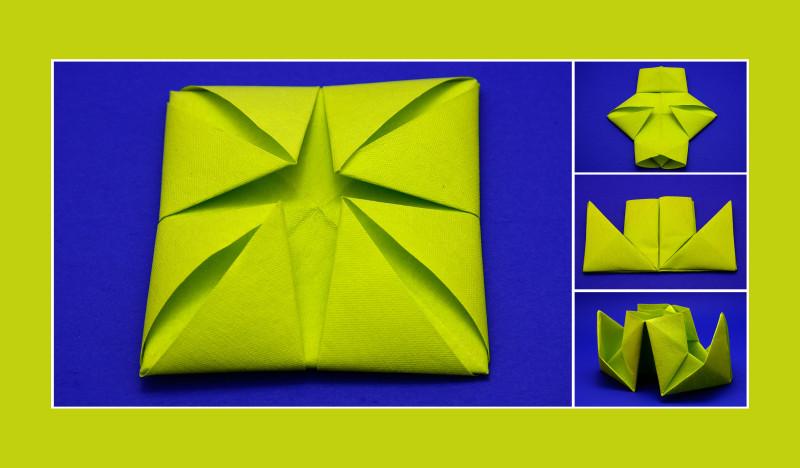 Servietten falten Anleitung Dampfer grün