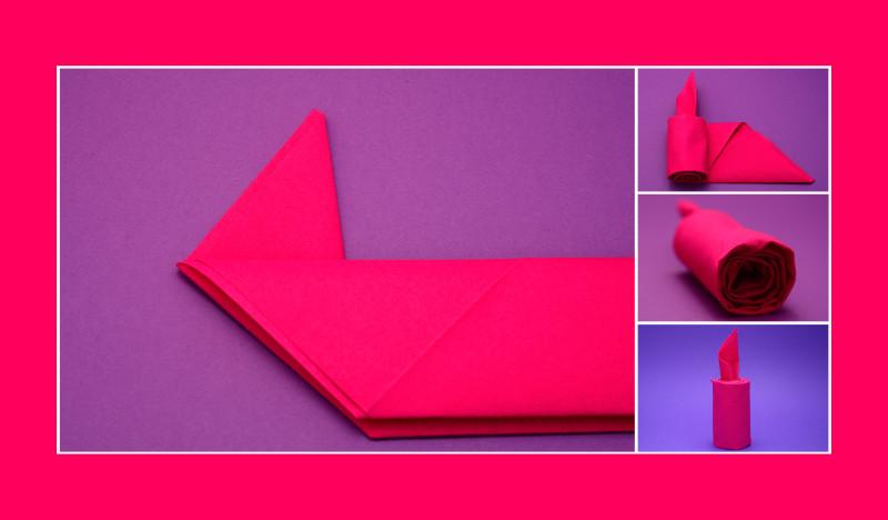 Servietten falten Anleitung Kerze rosa