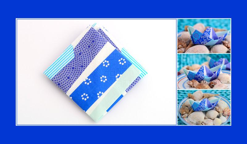 Servietten falten Anleitung Schiffchen blau