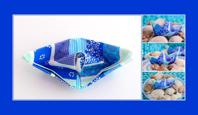 Servietten falten Anleitung Schiffchen Farbe blau