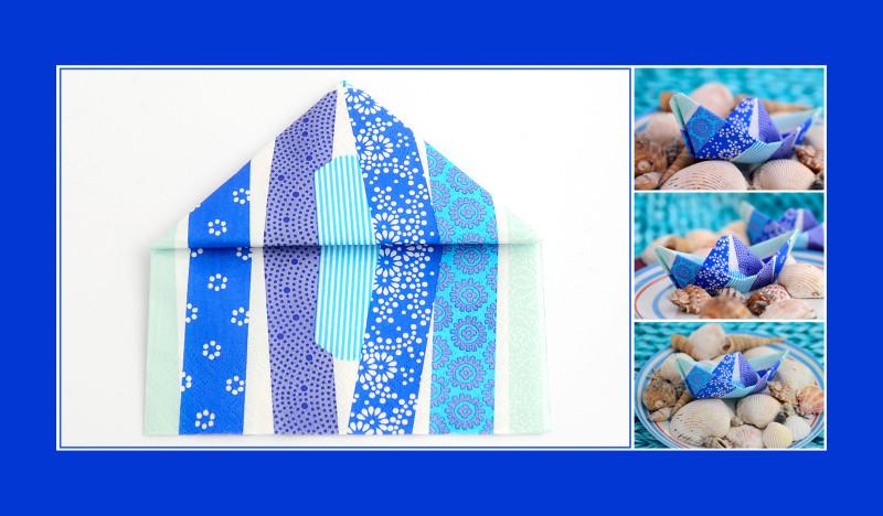 Servietten-falten-Anleitung-Schiffchen-blau