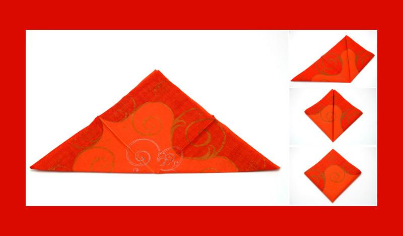 Servietten falten Anleitung Schmetterling orange