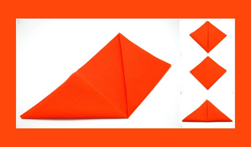 Servietten falten Anleitung Tüte orange