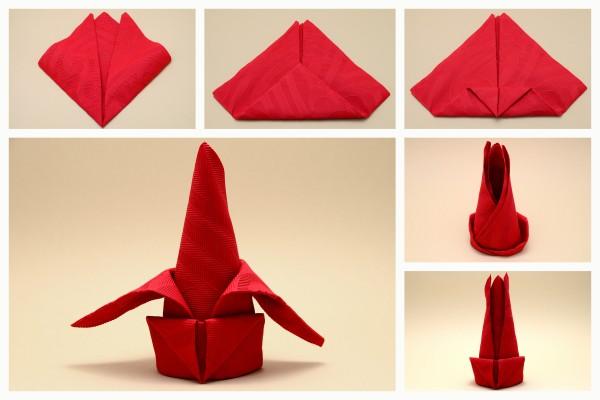 Servietten falten Anleitung die Lilie rot