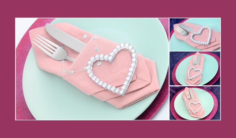 Stoffservietten falten Anleitung Bestecktasche Valentinstag Hochzeit Geburtstag