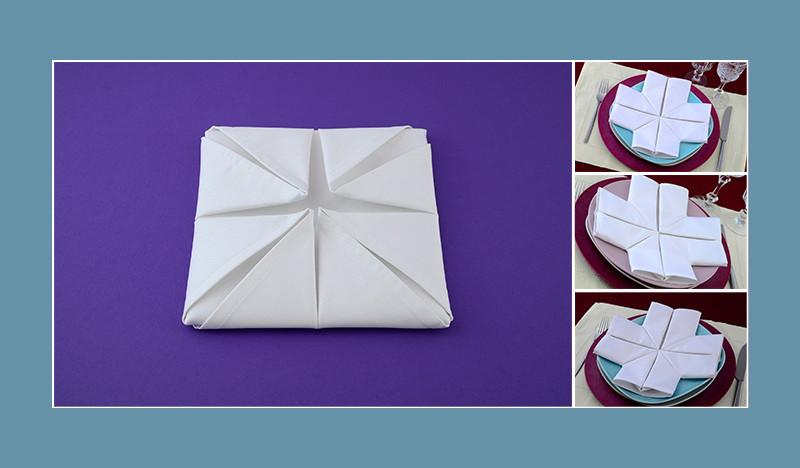 Servietten falten Anleitung Kreuz weiss Kommunion Konfirmation Taufe
