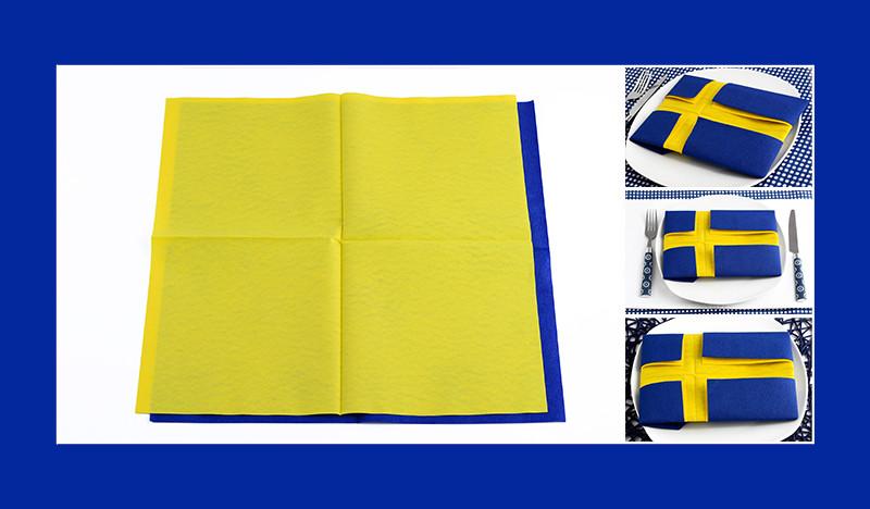 Servietten falten Schwedische Flagge