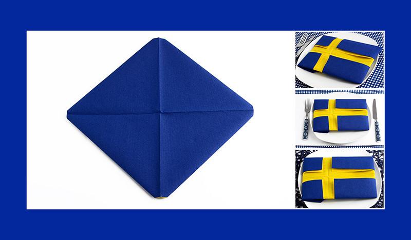 Servietten falten Anleitung Schwedische Flagge zwei Papierservietten