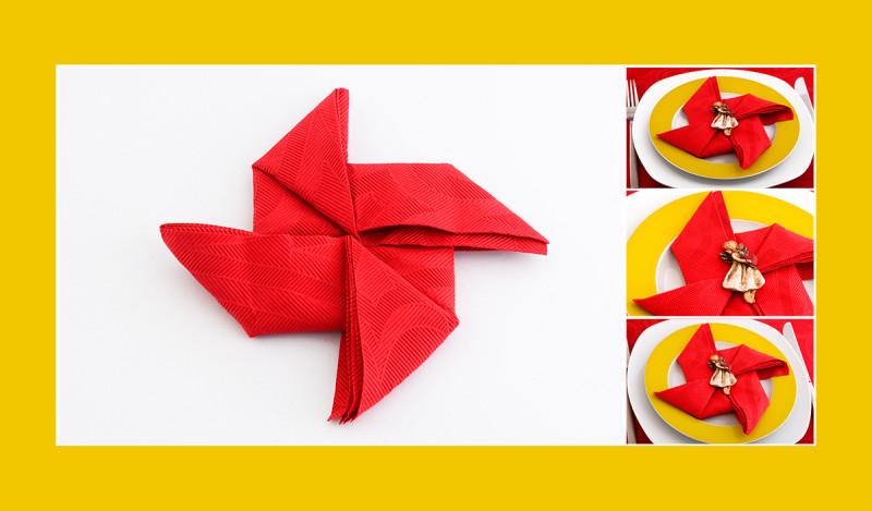 Servietten falten Anleitung Windrad Windmühle rot Geburtstag