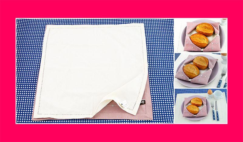 Servietten falten Anleitung Brotkorb zwei Stoffservietten