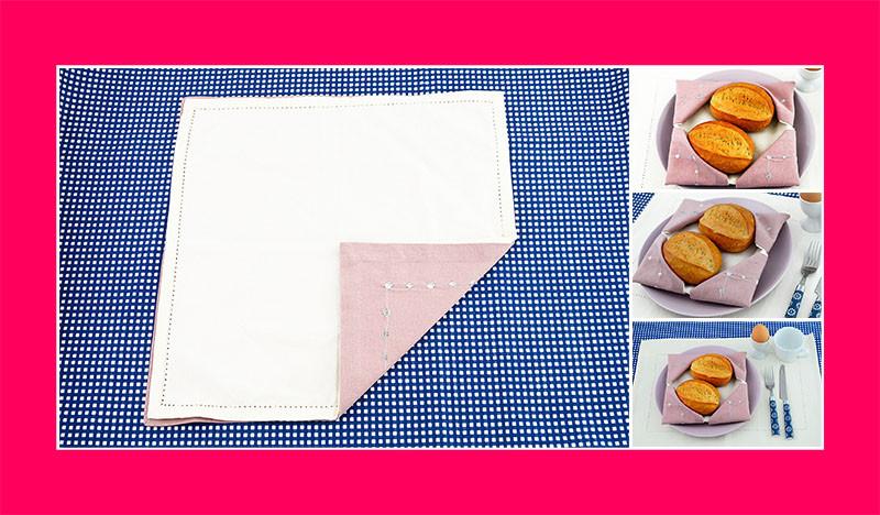 Servietten falten Anleitung Brotkorb aus zwei Stoffservietten
