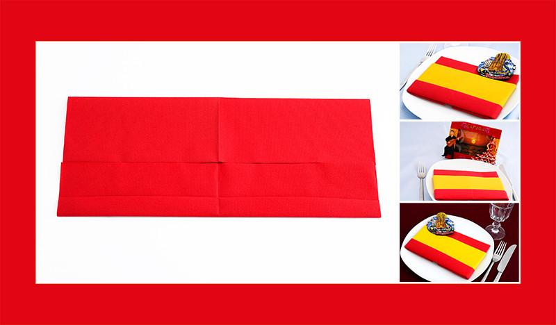 Servietten falten Anleitung Spanische Flagge