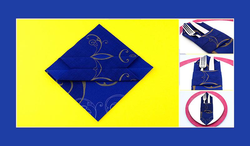 Servietten falten Anleitung Bestecktasche schnell und einfach, sechster Schritt