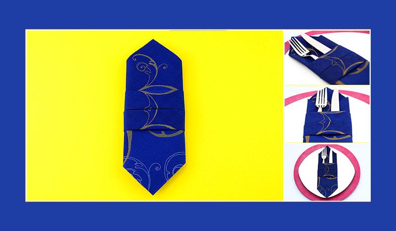 Servietten falten Anleitung Bestecktasche schnell und einfach, zehnter Schritt