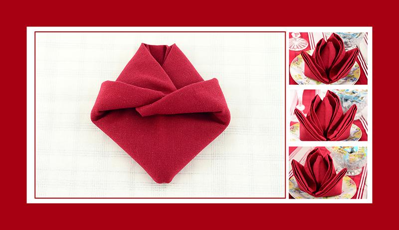 Servietten falten Rose romantisch