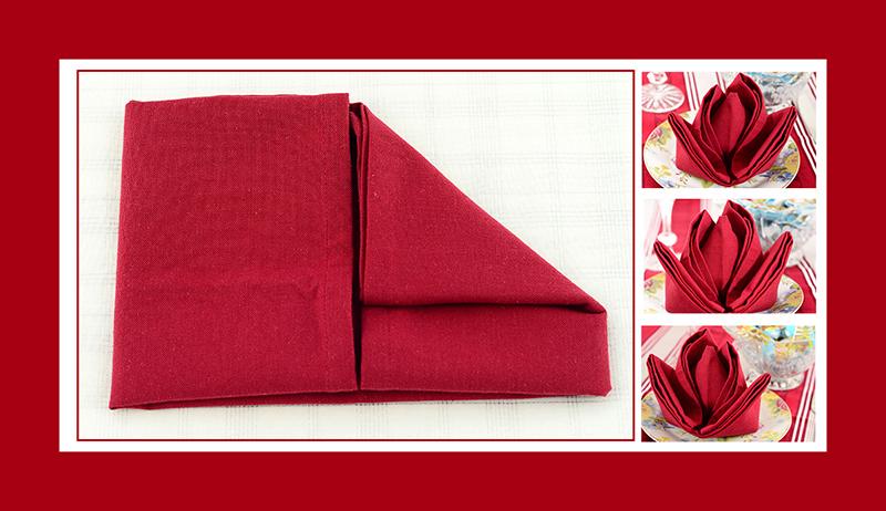 Servietten falten Rose Valentinstag