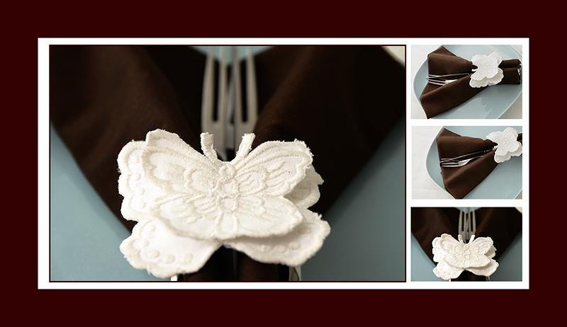Servietten falten Schmetterling als Ring