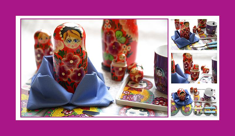 Servietten falten Valentinstag Stoffserviette romantisch mit Matroschka