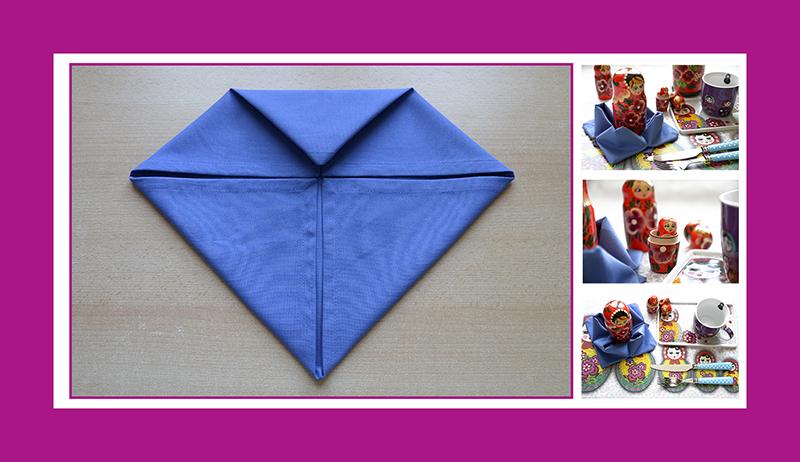 Serviettenfalten blaue Stoffservietten 40x40 cm