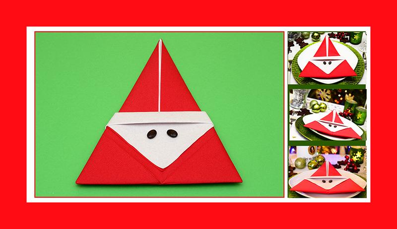 Servietten Falten Anleitung Weihnachtsmann 03