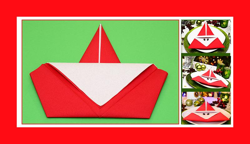 Servietten Falten Weinachten Weihnachtsmann Papierservietten