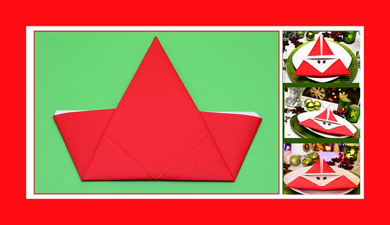 Weihnachtsmann aus Papierservietten falten