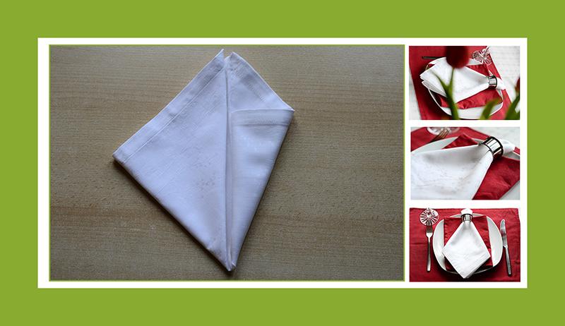 Servietten falten Anleitung Krawatte mit Ring