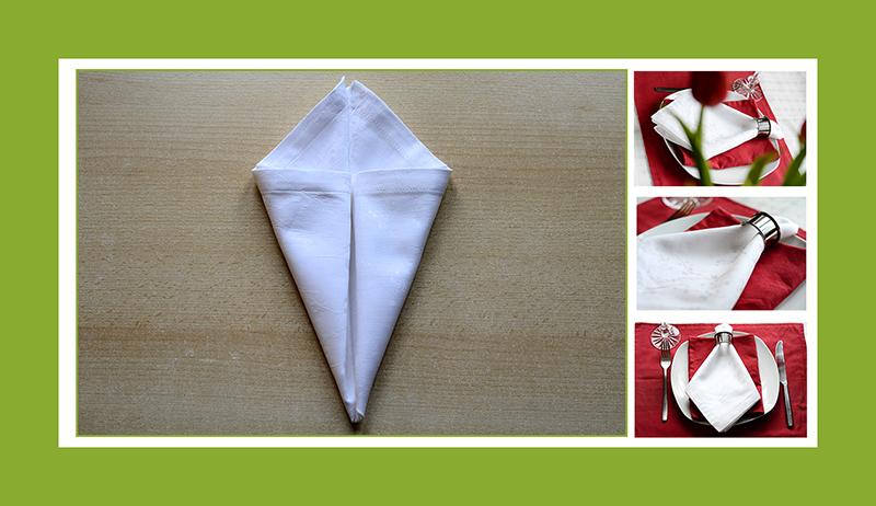 Servietten falten Anleitung Krawatte