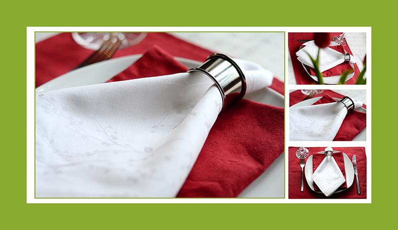 Servietten falten Krawatte mit Ring 02