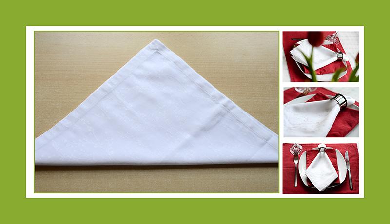 Servietten falten Krawatte mit Ring