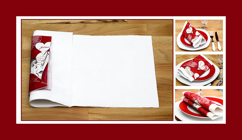 Servietten falten Valentinstag Papierservietten