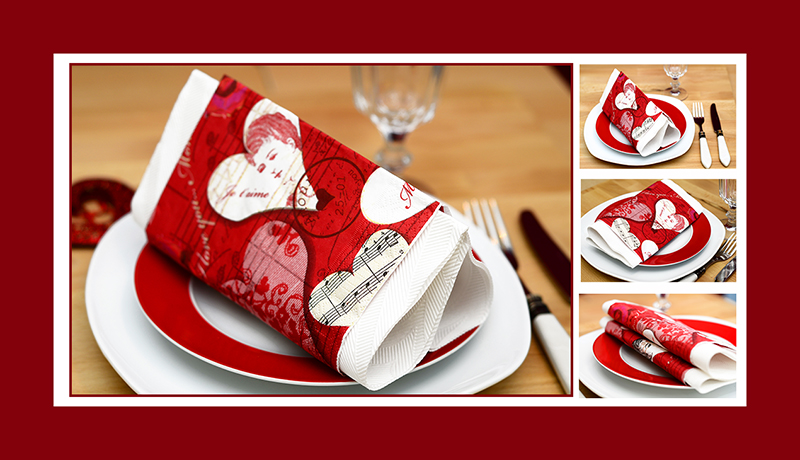 Servietten falten zum Valentinstag Herzform