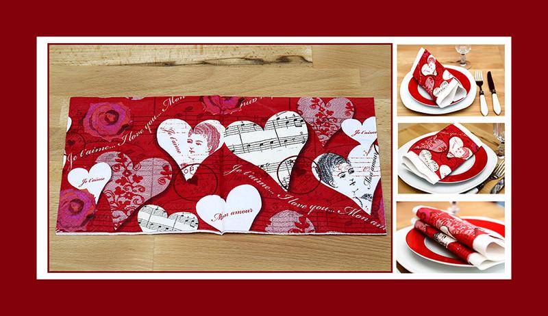 Servietten falten zum Valentinstag schnell einfach