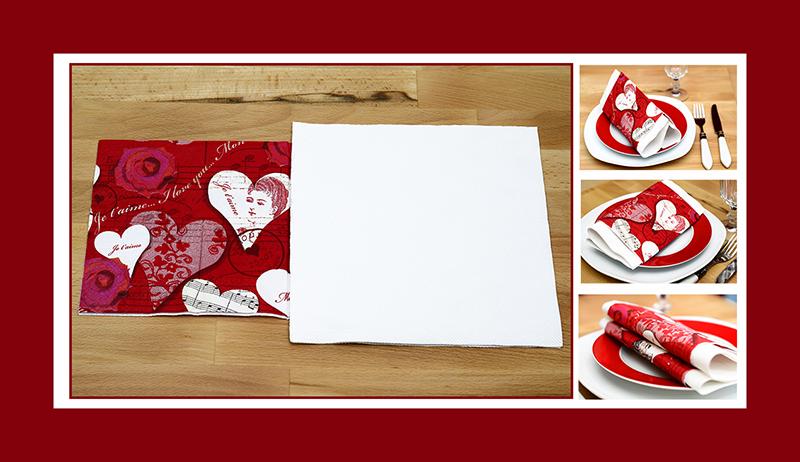 Servietten falten zum Valentinstag zwei Servietten 03