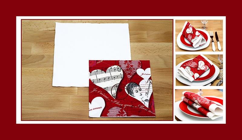 Servietten falten zum Valentinstag