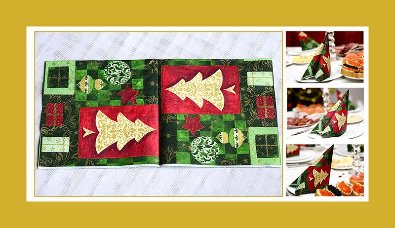 Servietten falten Anleitung Tafelspitz zu Weihnachten