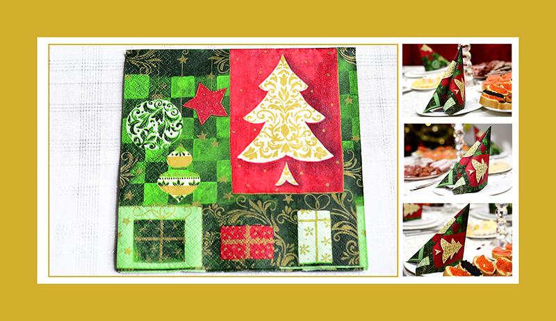 Servietten falten Tafelspitz zu Weihnachten