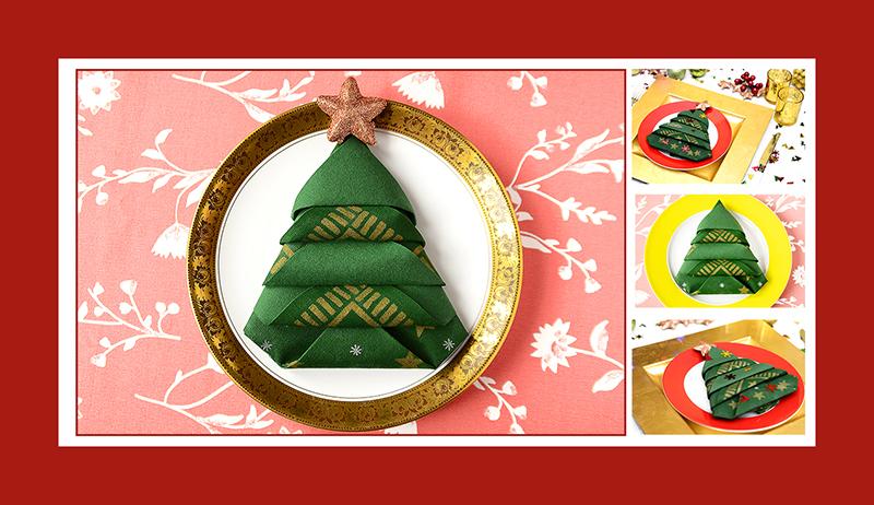 Servietten falten Weihnachtsbaum Tannenbaum zu Weinachten 2016
