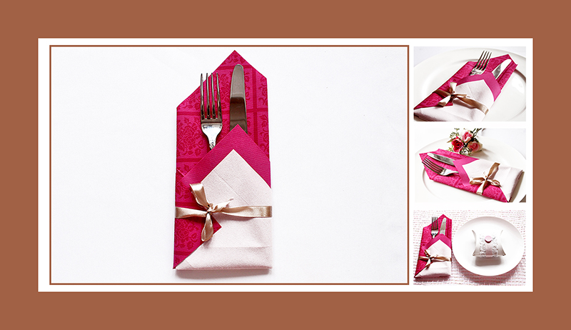 Elegante Bestecktasche aus zwei Papierservietten falten Anleitung