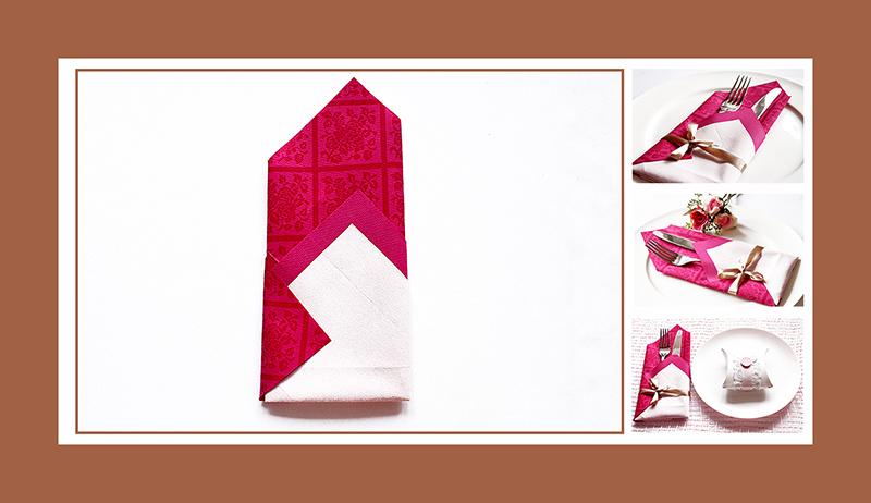 Papierservietten falten elegant mit Band
